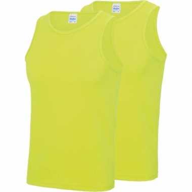 2-pack maat l - sport singlets/hemden neon geel voor heren shirt