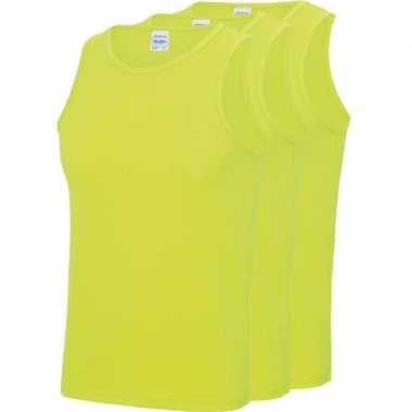 3-pack maat xxl - sport singlets/hemden neon geel voor heren shirt