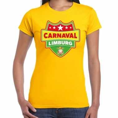 Carnaval verkleed t-shirt limburg geel voor dames