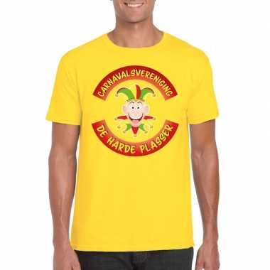 Carnavalsvereniging de harde plasser limburg heren t-shirt geel