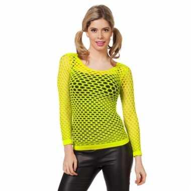 Fel geel t-shirt met gaatjes