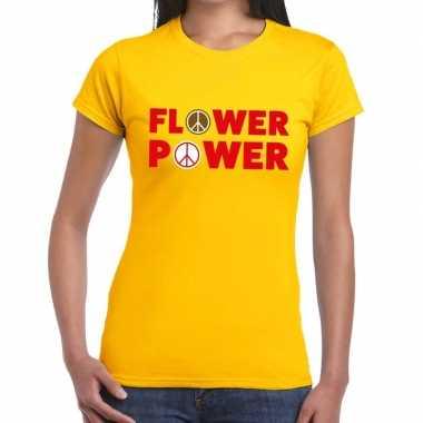 Flower power tekst t-shirt geel dames