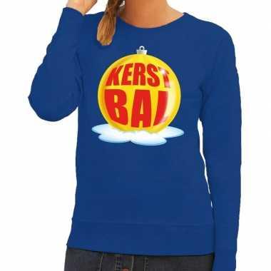 Foute kersttrui kerstbal geel op blauwe sweater voor dames shirt