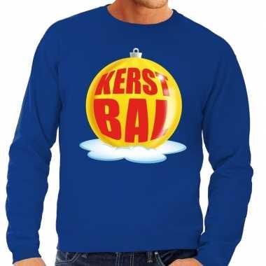 Foute kersttrui kerstbal geel op blauwe sweater voor heren shirt