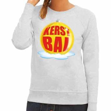 Foute kersttrui kerstbal geel op grijze sweater voor dames shirt