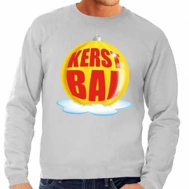Foute kersttrui kerstbal geel op grijze sweater voor heren shirt