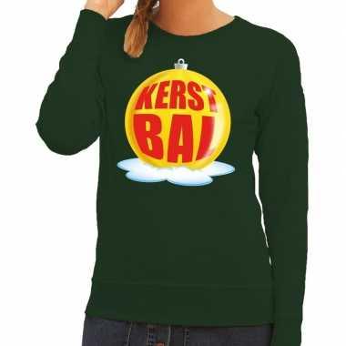 Foute kersttrui kerstbal geel op groene sweater voor dames shirt