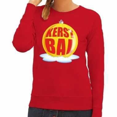Kersttrui Lang Dames.Foute Kersttrui Kerstbal Geel Op Rode Sweater Voor Dames Shirt