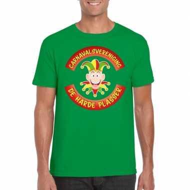 Geel carnavalsvereniging de harde plasser limburg heren t-shirt groen