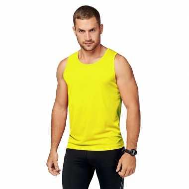 Geel fluor gele hardloop tanktop voor heren shirt