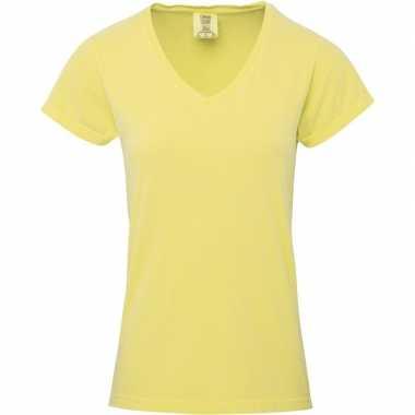 Geel getailleerde dames t-shirt met v-hals gele