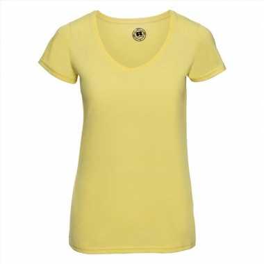 Getailleerde dames t-shirt met v-hals geel