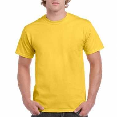 Set van 2x stuks goedkope gekleurde shirts geel voor heren, maat: l (40/52)